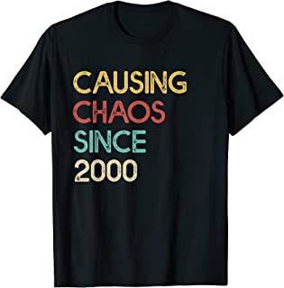 Funny 20th Birthday Gift Causing Chaos Since 2000 Awesome T-Shirt