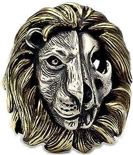 Anello da Uomo Leone Lion King Ring Retro 925 Anello in Argento 925 Un Cranio Vintage con Un Anello di Leo,21