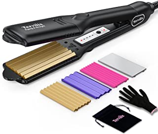 Terviiix Hair Crimper for Women with 4 Interchangeable Plates, Keratin & Argan Oil Infused Crimping Iron for Hair, Volumiz...