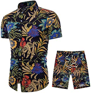 Outfits Set for Men, F_Gotal Men's Outfits Beach Shorts African Floral Print Two Piece Cotton Linen Outfits Sets