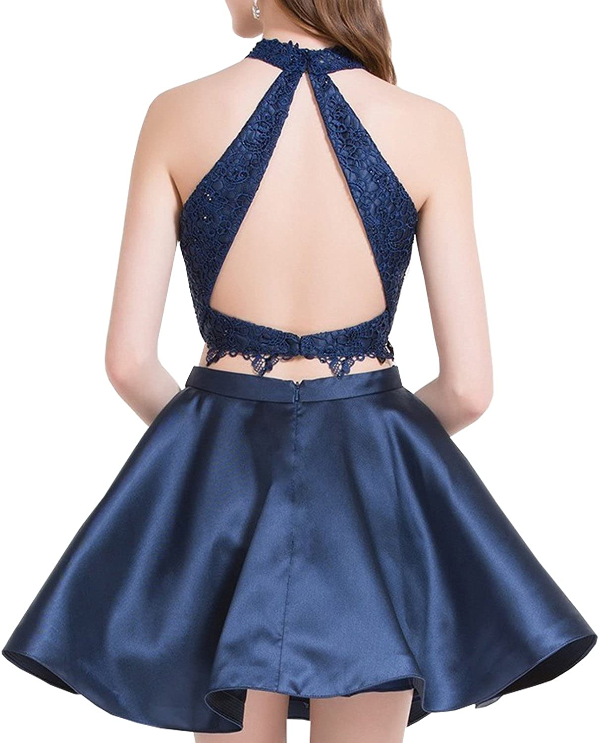 Women's Satin Lace Halter Short Prom Dress 2 Pieces Homecoming Dresses