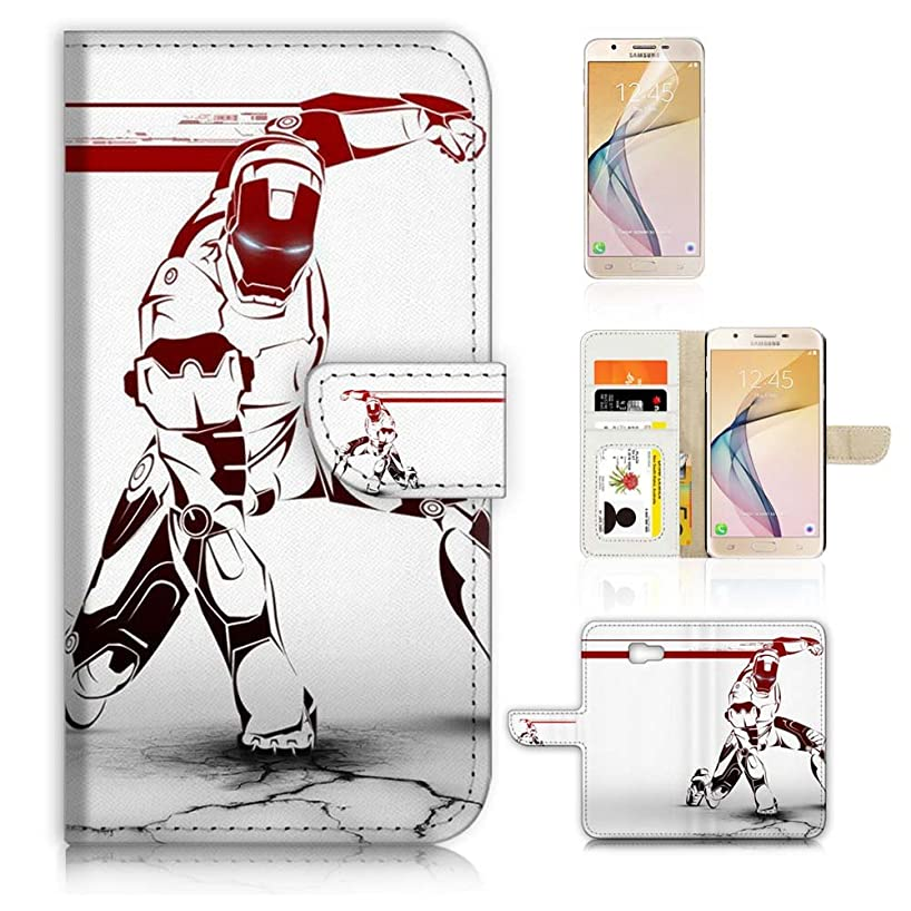 (For Samsung J7 Prime/J7 V/J7 Perx/J7 2017/J7 Sky Pro/Galaxy Halo) Flip Wallet Case Cover & Screen Protector Bundle - A21172 Ironman Iron Man