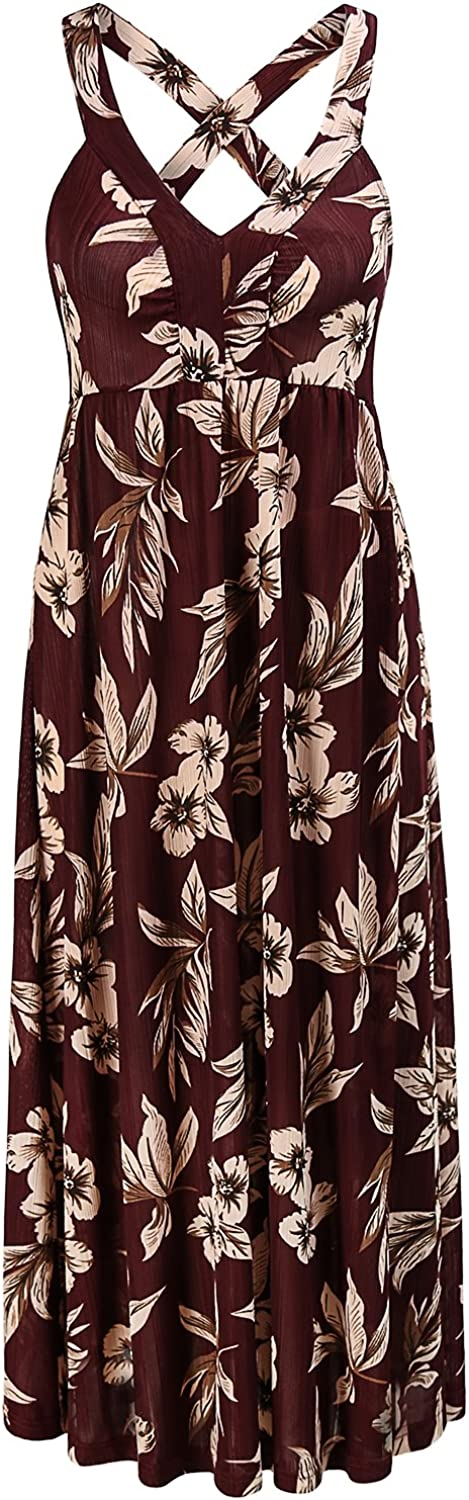 MOQIVGI Women's V Neck Strappy Floral Casual Midi Dress Sleeveless Criss Cross Backless Cocktail Party Dresses