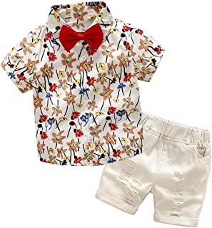 Fairy Baby Summer Casual Boys Outfit 2pcs Clothes Set Kids Beach Tops Shirt+Shorts Pant Set