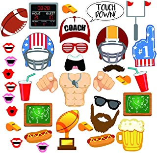 HUAYI 36 Piece Football Photo Booth Props Kits – Touch Down Frenzy Sport Soccer Birthday Party Favors Decoration Supplies