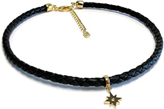 Liza Schwartz Jewelry Choker Eternal Star Pendant with Adjustable Chain Extender in Black, White and Camel Leather for Wom...