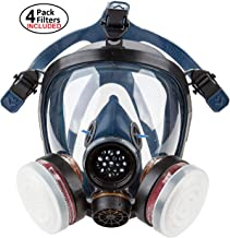Full Face Organic Vapor Respirator – Safety Mask – 4 Filters Included - Activated Charcoal - for Construction, Cleaning and Industrial Work - Protective Shield from Chemicals, Mold and Dust