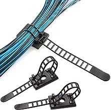 NATUCE 50 stks herbruikbare kabel clips, verstelbare zelfklevende banden kabel, nylon kabel ritssluitingen en lijm kabel c...