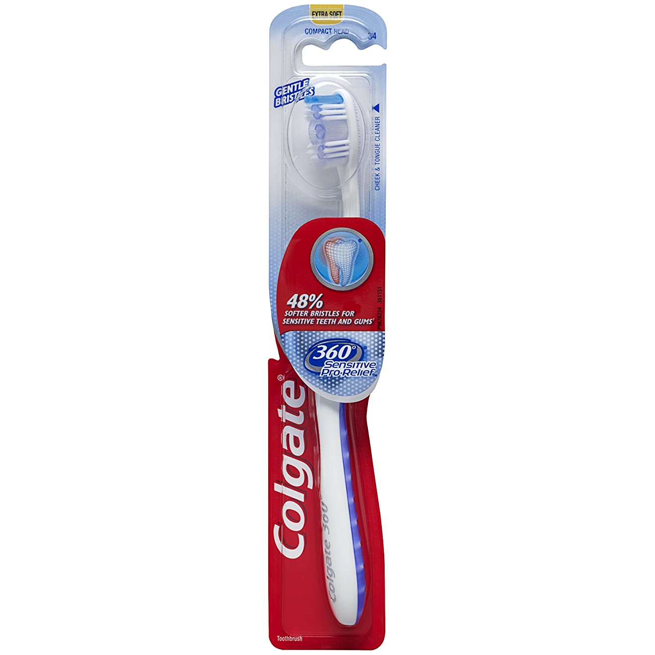ラウズ上作り上げるColgate 360機密性の高いプロの救済スリム歯ブラシ、エクストラソフト(色は異なります)
