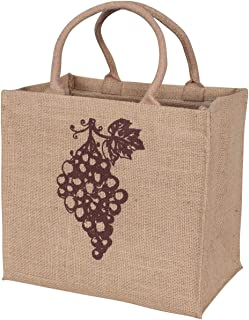 KAF Home Jute Wine Tote with Grapes Print, Holds 4 Bottles with Integrated Divider, Durable Handle, Reinforced Bottom