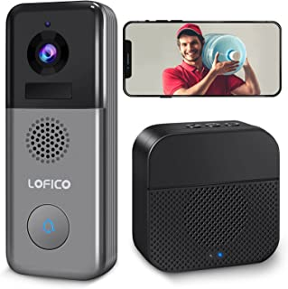 Video Doorbell Camera, LOFICO 2K WiFi Wireless Rechargeable Battery Powered Doorbell Camera with Wireless Chime, Motion De...