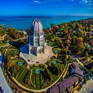 Elevated view of Bahai Temple Wilmette Cook County Illinois USA Poster Print by Panoramic Images (24 x 18)