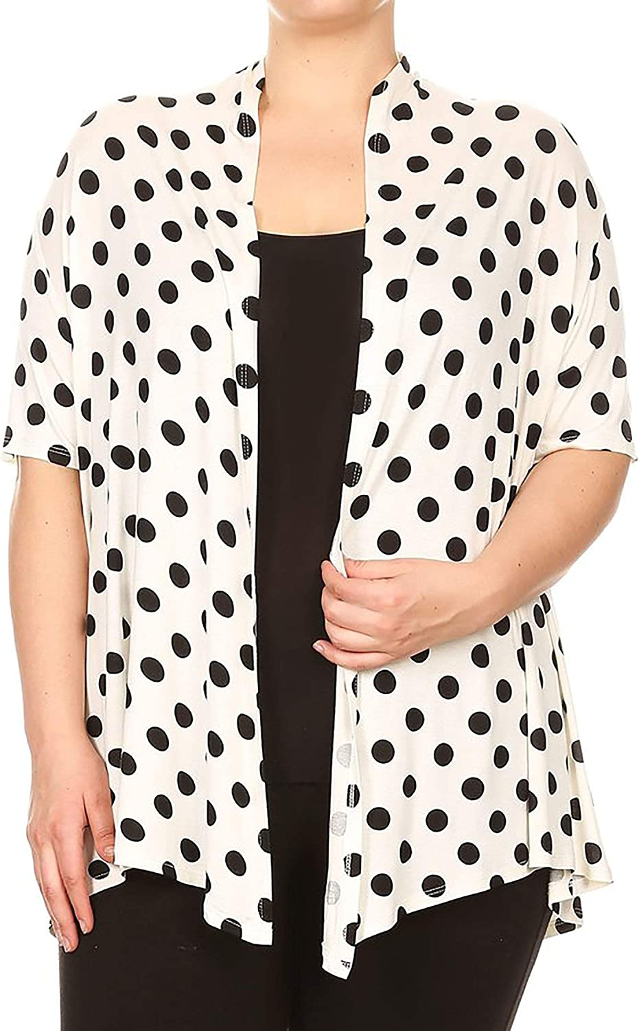 Women's Plus Size Floral Polka Print Loose Fit Open Front Draped Cardigan/Made in USA
