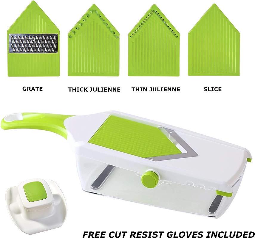 KAY PRIDE Best Adjustable Mandoline Slicer Professionally Slice Julienne Grate Shred Your Favorite Veggies Bonus Gift Cut Resistant Gloves