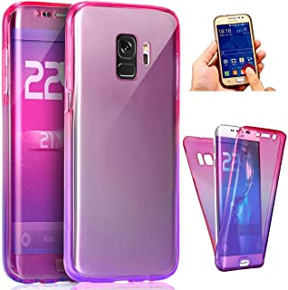 Galaxy S9 Case,ikasus [Full-Body 360 Coverage Protective] Gradient Color Ultra-Slim Scratch-Resistant Front + Back Full Coverage Soft Clear TPU Silicone Rubber Case Cover for Galaxy S9,Pink Purple