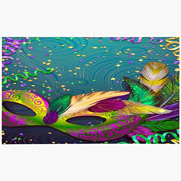 Ahawoso Doormat Door Mat 18x30 Colorful Gras Realistic Carnival Mask Feathers Flyers Mardi Holidays Carnaval Party Masquerade Parade Machine Washable Non Slip Mats Bathroom Kitchen Decor Area Rug