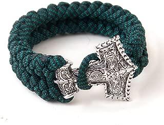 LQQQL Survival Paracord Bracelet Mjolnir Thor's Hammer Viking Bracelet Dark Green Rope