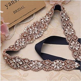 Bridal Rhinestone Wedding Belts Hand Clear Crystal 22In Length For Bridal Gowns