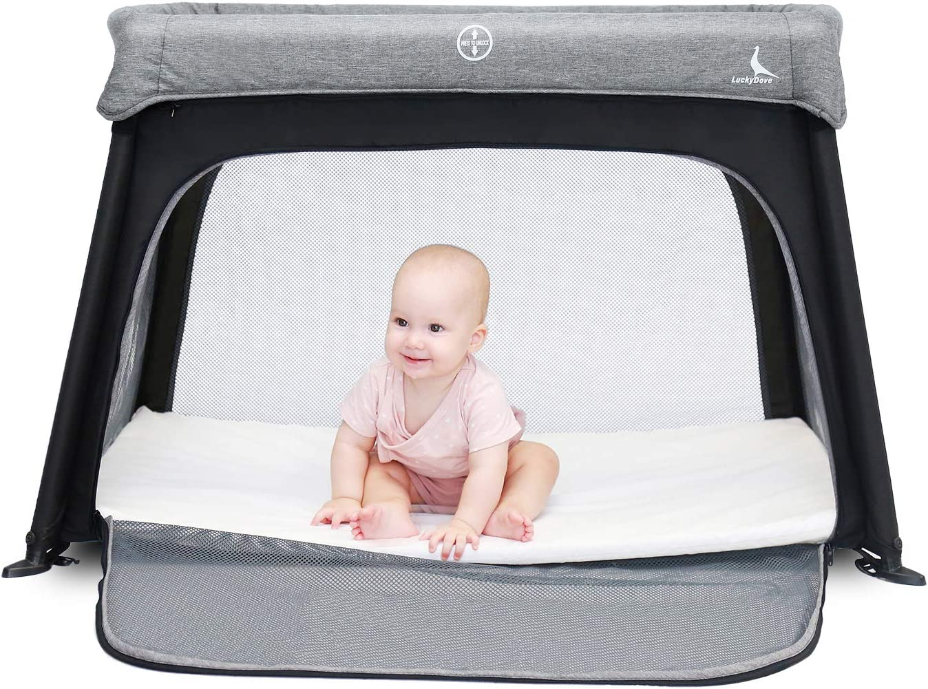 LuckyDove Portable Travel Crib&Pack n Play-Lightweight,Simple Assembly&Easily Collapsible,Gray