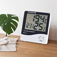 Nannday Termómetros de Interior, hogar Digital LCD Higrómetro Temperatura Ambiente Humedad Medidor Monitor con Reloj Despertador para el hogar