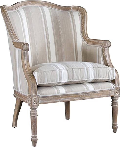 Baxton Studio Striped Charlemagne Traditional French Accent Chair Oak Brown