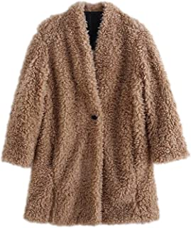 Abrigo de peluche sólido para mujer, otoño e invierno, grueso y mullido, de manga larga, de piel sintética