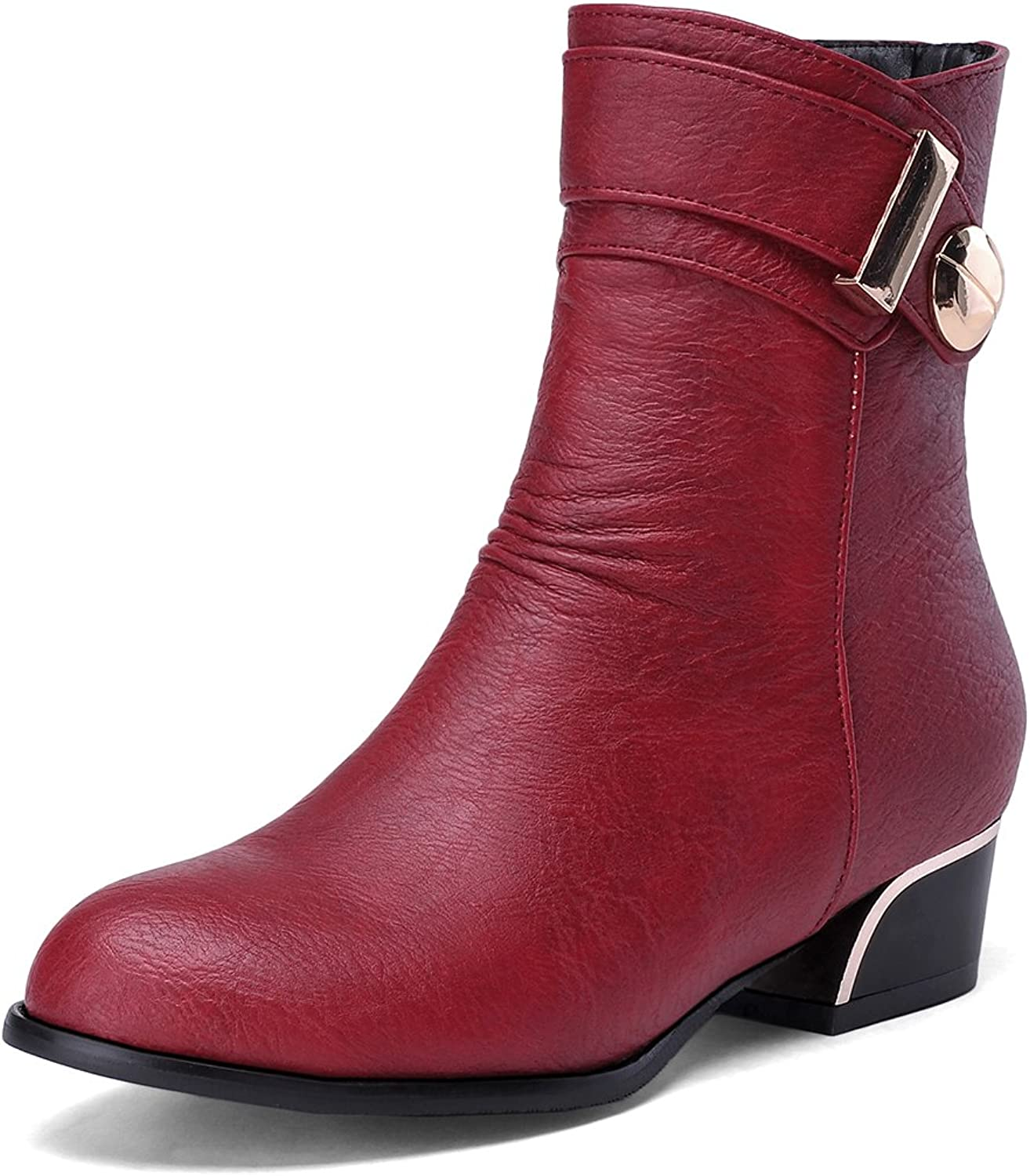 AIWEIYi Womens Round Toe Buckles Low Heel Platform Ankle Boots Black