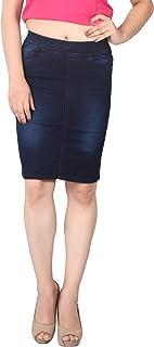 FCK-3 Women's Silky Stretchable Pencil Fit Denim Skirt