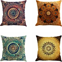 Jartinle Set of 4 Retro Floral Mandala Compass Medallion Bohemian Boho Style Summer Decor Cushion Case Decorative for Sofa Couch 18