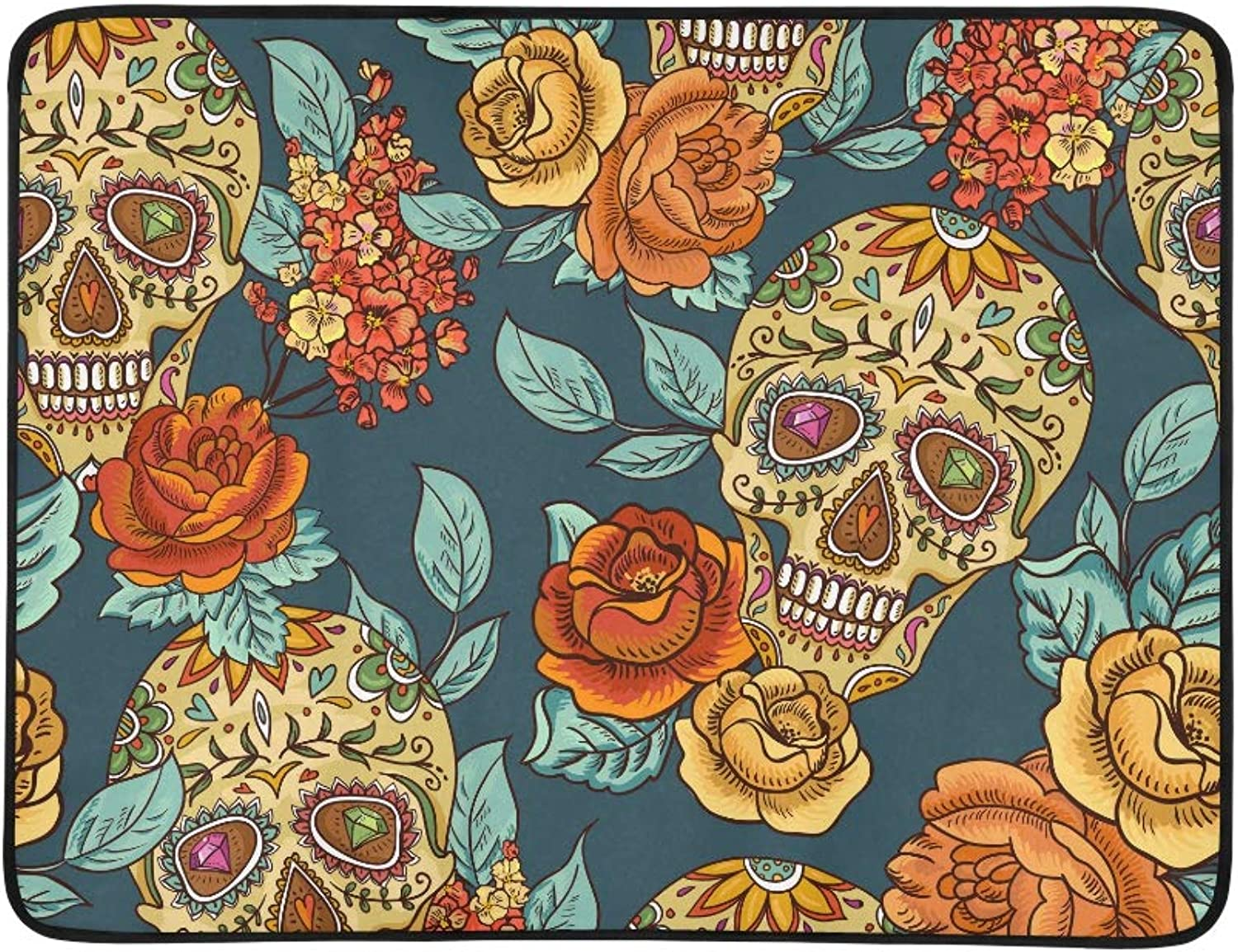 Dia De Los Muertos Skull N Flowers Pattern Portable and Foldable Blanket Mat 60x78 Inch Handy Mat for Camping Picnic Beach Indoor Outdoor Travel