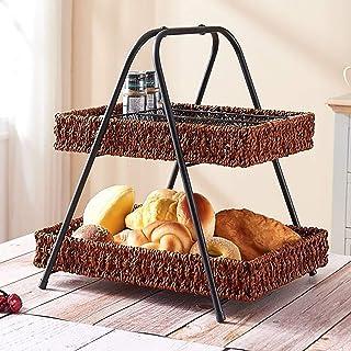 Faite à La Main Rotin Panier De Rangement Avec Metal Stand,2-niveau Vintage Ferme Corbeille A Fruits,Osier Tissé Rectangul...