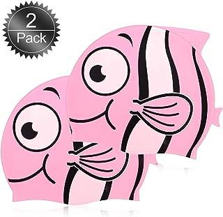 0f628dbe40a25 KIt 2Toucas Silicone Infantil Peixinho Rosa Esporte Natação Piscina Nadar  Proteção Cabelo Promoção Liquidação Barato Oferta