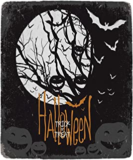 YOLIYANA Vintage Halloween Practical Blanket,Halloween Themed Image with Full Moon and Jack o Lanterns on a Tree Decorative for Sofa,39''W x 49''H