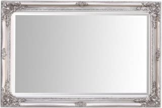 Select Mirrors Rhone Wall Mirror – French Vintage, Rococo Baroque Style, Shabby Chic Home Decor – 60cm x 90cm (2x3 ft) (Antique Silver)