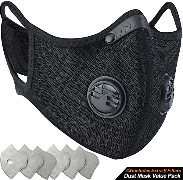 BASE CAMP Dust Breathing Mask Activated Carbon Dustproof Mask With Extra Carbon N99 Filters For Pollen Allergy Woodworking Mowing Running Cycling Outdoor Activities Black