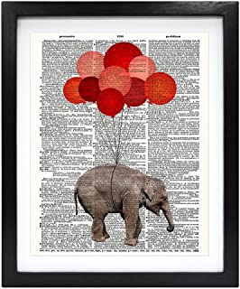 Susie Arts 8X10 Unframed Baby Elephant with Red Balloons Upcycled Vintage Dictionary Art Print Book Art Print Home Decor Funny Prints Kids Wall Art V051
