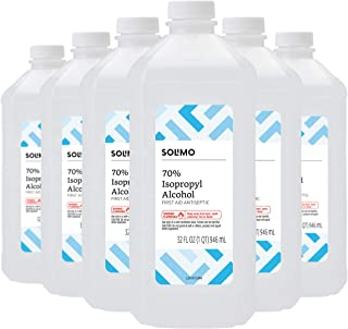 Amazon Brand - Solimo 70% Isopropyl Alcohol First Aid Antiseptic for Treatment of Minor Cuts and Scrapes, 32 Fl Oz (Pack of 6)
