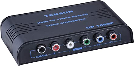 Tensun 1080P HDMI to Component Video (YPbPr) Scaler Converter Adapter with Coaxial Audio Output + R/L Audio, Black