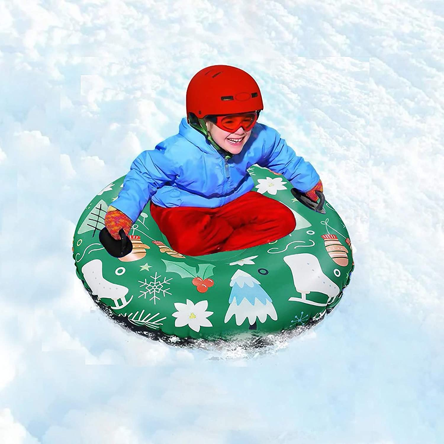 Inflatable Snow Sled for Kids and Adults YZHM Snow Tube Winter Skiing Ring Heavy Duty Outdoor Snow Tube for Sledding,Towable Freeze-Proof /& Wear-Resistant Snow Tube with 2 Handles