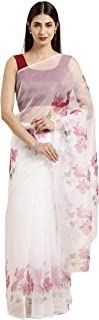 Womanista Crepe with Blouse Piece Saree (WM1315_Off White & Pink_OneSize)