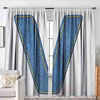 Letter V Decor Curtains Clothing Fashion Style Theme with Majuscule V Alphabet Symbol Modern Collection Great for Living Rooms & Bedrooms W 84