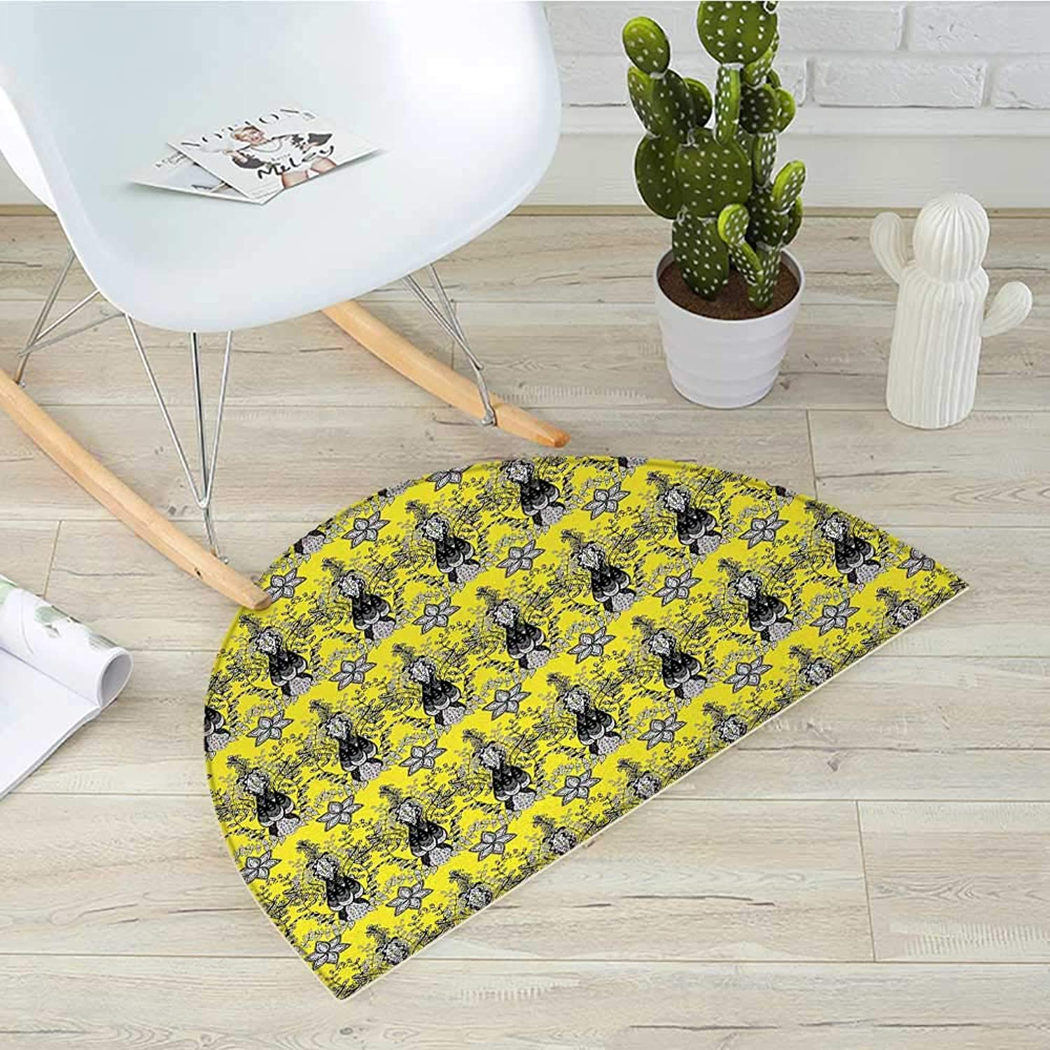 Grey and Yellow Semicircle Doormat Ethnic Orietal Paisley Floral Design Ivy Swilrs Image Halfmoon doormats H 39.3  xD 59  Black White and Charcoal Grey