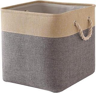 TheWarmHome Decorative Basket Rectangular Fabric Storage Bin Organizer Basket with Handles for Clothes Storage (Gray Gold ...