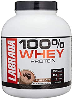 Labrada Nutrition 100% Whey Protein (Chocolate, 4.13 lbs/1875 g, 50 servings) 24g Protein, 1 g Sugar, No Trans-fat, High i...