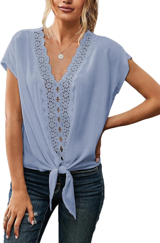 trend rank Aleumdr Women's Lace Crochet V Down Casua Sleeveless Button Direct stock discount Neck