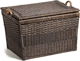 The Basket Lady Lift-Off Lid Wicker Storage Basket, Large, 24.5 in L x 18 in W x 17.5 in H, Antique Walnut Brown