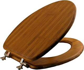 MAYFAIR Solid Bamboo Toilet Seat with Brushed Nickel Hinges, ELONGATED, 19401NI