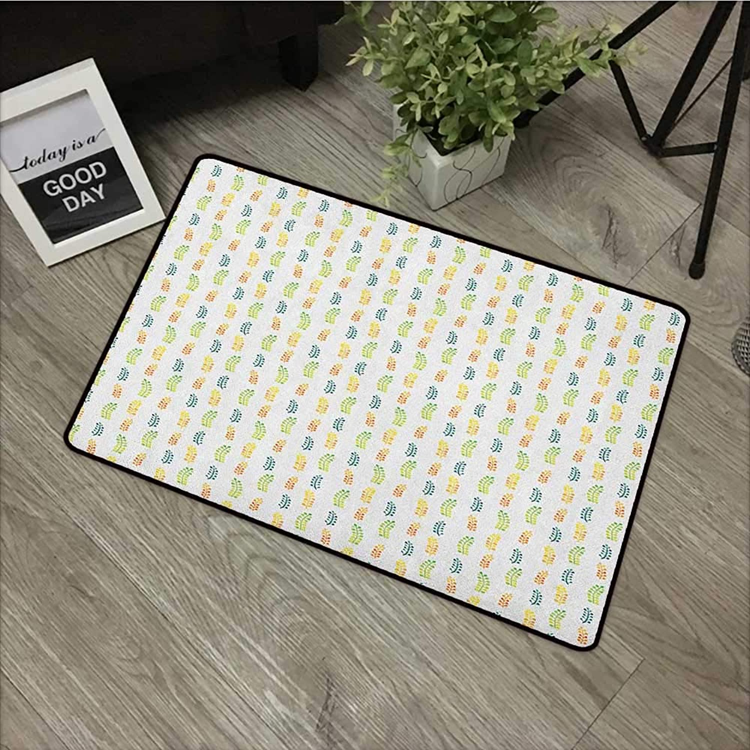 Living Room Door mat W35 x L59 INCH Floral,Hand Drawn Watercolor Foliage Leaves with Many colors Botany Themed Illustration, Multicolor Easy to Clean, Easy to fold,Non-Slip Door Mat Carpet