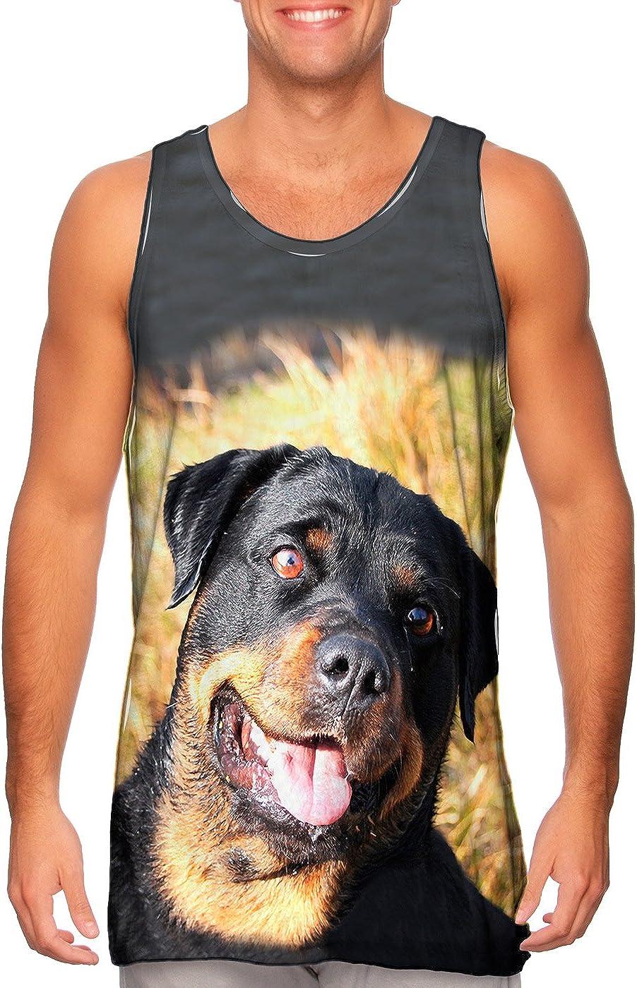 Yizzam Ranking integrated 1st place Detroit Mall AnimalShirtsUSA- Bashful Rottweiler Mens To Tank -Tshirt-
