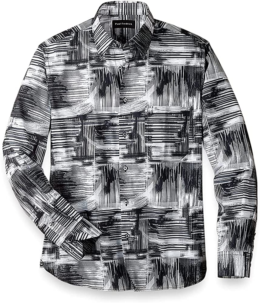 Paul Fredrick Men's Easy Care Cotton Abstract Casual Shirt, Black/White